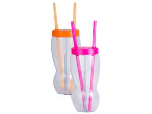 1L 2 Part Glass With Cap And 2 Straws