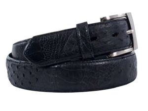 35Mm Genuine Ostrich Quill And Shin Combo Mens Exotic Belt