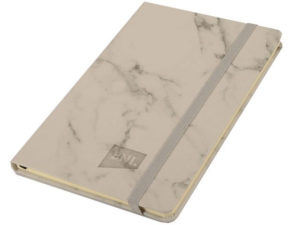 A5 Limestone Pu Notebook With Elastic - Marble Design