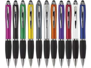 Ballpoint Pen With Rubber Grip And Stylus