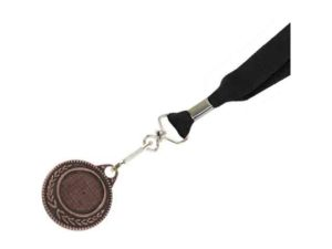 Bronze Medal-Dome+Screen Printed Ribbon With 1 Col