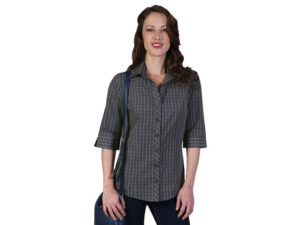 Donna 3/4 Sleeve Check Blouse